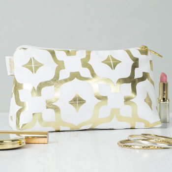Metallic Moroccan Makeup Bag In White