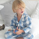 Personalised Blue And White Checked Pyjamas
