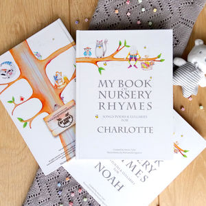 Nursery Rhymes And Personalised Poems Hardback Book - gifts for babies