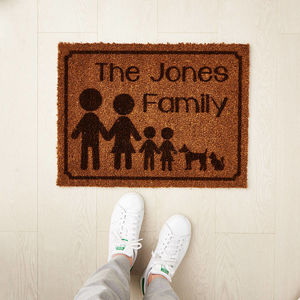 Four Personalised Family Doormat - rugs & doormats