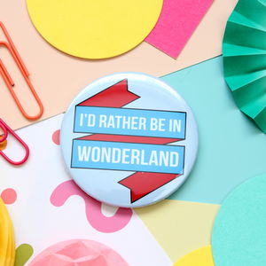 Alice In Wonderland Badge, Pocket Mirror Or Keyring - pins & brooches