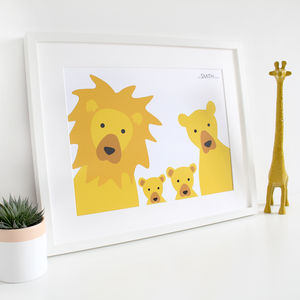 Lion Family Selfie, Personalised Print - family & home