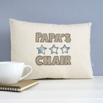 personalised cushion for dad, blue stars