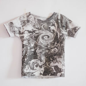 Charcoal Swirls Hand Marbled T Shirt - t-shirts & tops