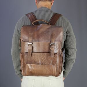 Personalised Vintage Style Leather Backpack