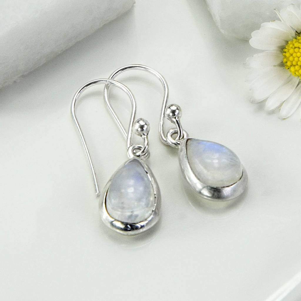 Super sterling silver moonstone teardrop earrings by martha jackson  DN91