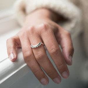 Silver Signature Logo Cresent Ring - mystical jewellery