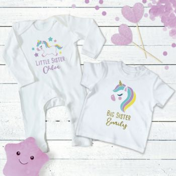 Unicorn Sisters Personalised Set With Gold Glitter