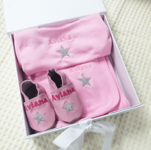 Personalised Star Shoes Baby Gift Set - baby care