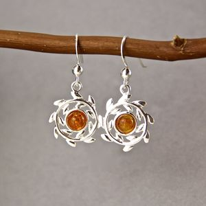 Amber Sterling Silver Wreath Earrings - earrings