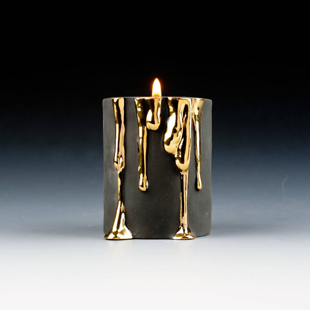 Black And White Bathroom: Black Candle Holders With Dripping Gold By Kina Ceramics