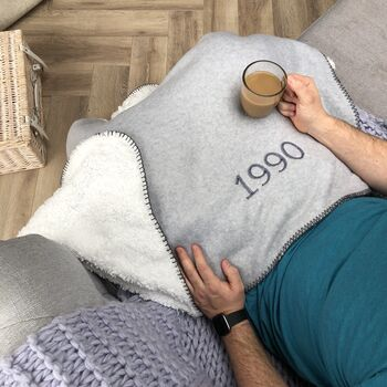 Personalised Birth Year Embroidered Blanket Throw