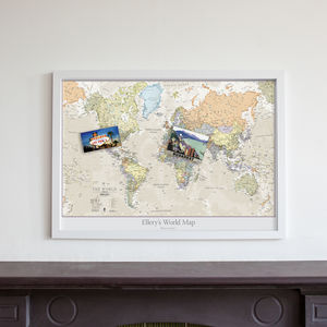 Personalised Classic World Map - frequent traveller