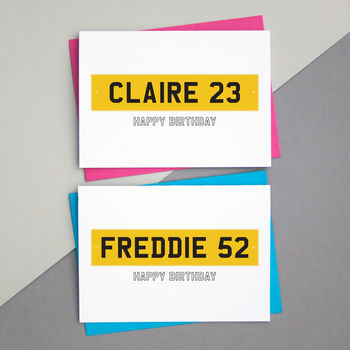 Car Number Plate Birthday Card Personalied