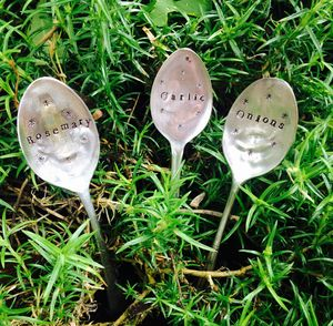 Set Of Three Vintage Spoon Plant Markers
