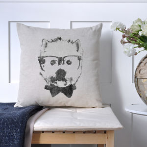 Glasses And Bow Tie Dog Print Cushion