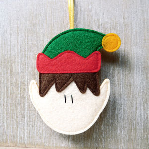 Handmade Felt Elf Christmas Tree Decoration