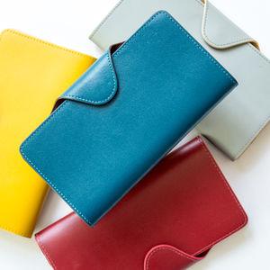 Coloured Handmade Leather Purse Or Wallet