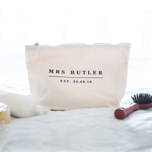 Personalised Wedding Date Wash Bag