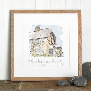 Personalised Watercolour House Sketch