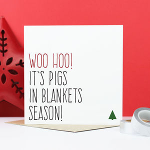 'Pigs In Blankets' Christmas Card - shop by category