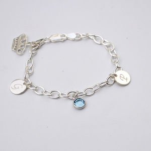 Sterling Silver Personalised Disc Charm Bracelet