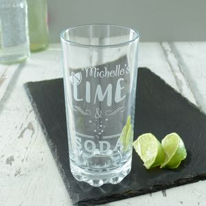 Lime And Soda Personalised Highball Glass