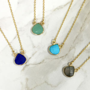 Gold Semi Precious Teardrop Gemstone Necklace