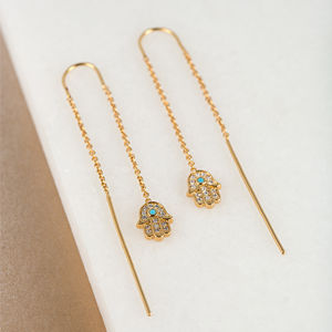 Gold Fatima Hand Threader Earrings - lucky charm jewellery