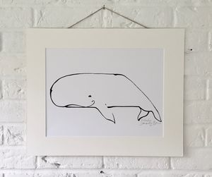 'Whale' Original Ink Line Drawing