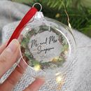 Mr And Mrs Wedding Glass Christmas Bauble