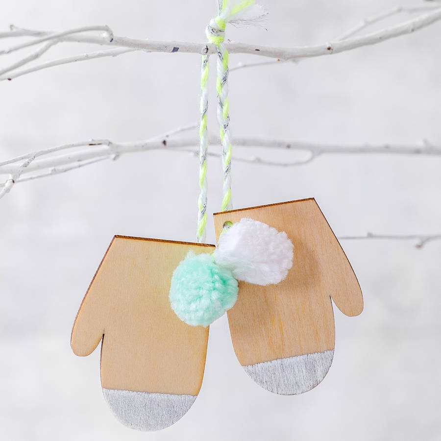 Wooden Mittens With Pom Poms