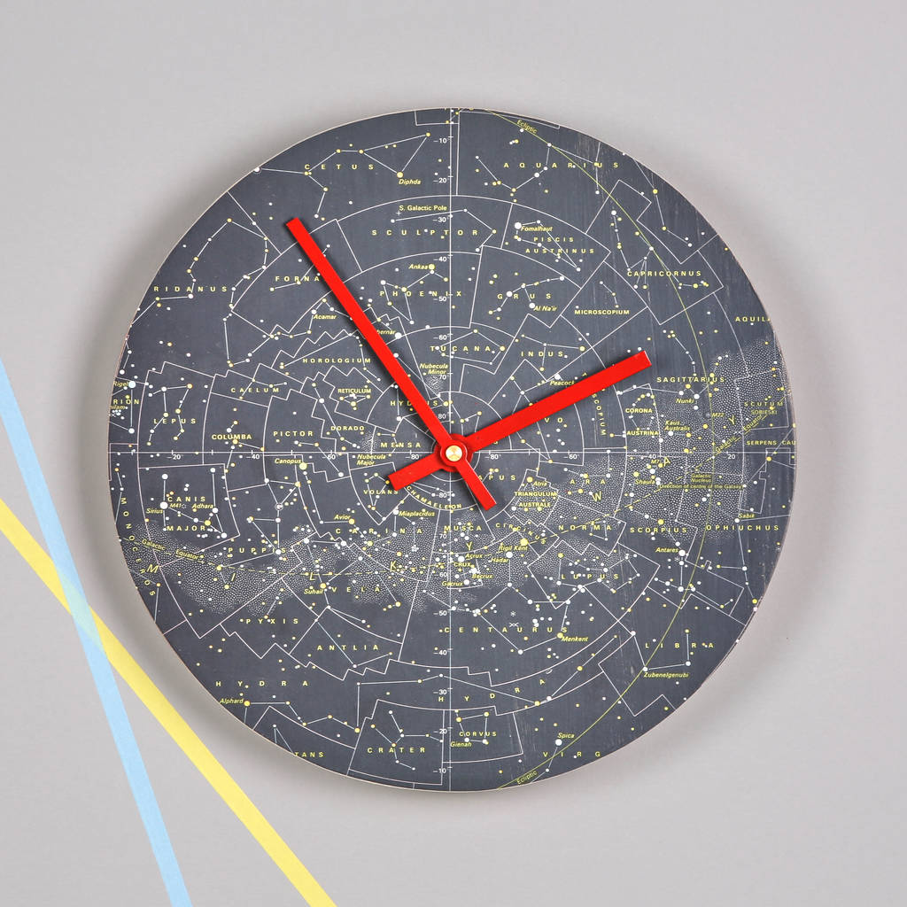 Stars And Constellations Map Clock stars and
