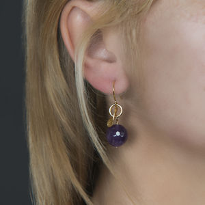 Gold Disc And Gemstone Earrings