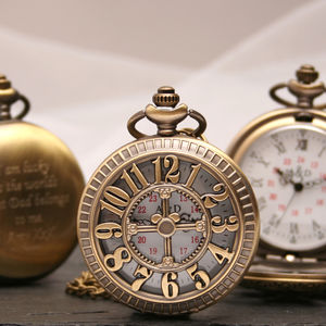 Engraved Bronze Pocket Watch Pierced Numbers