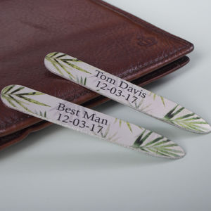 Men's Personalised Gift Tropical Collar Stiffeners - men's accessories
