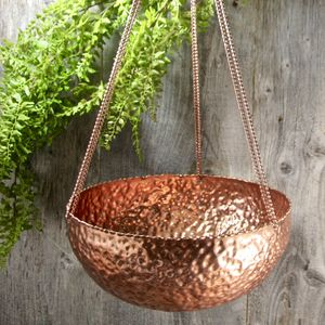Copper Hanging Planter - garden