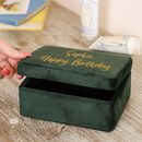 Personalised Rich Green Velvet Jewellery Box
