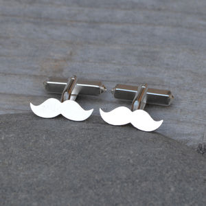 Moustache Cufflinks In Sterling Silver