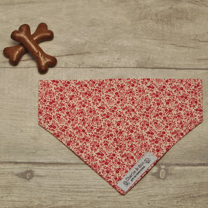 Red And White Floral Ditsy Print Dog Bandana