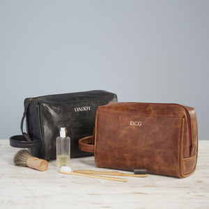 Personalised Leather Wash Bag - health & beauty sale