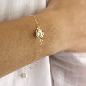 Wrapped Pearl Golden Bracelet