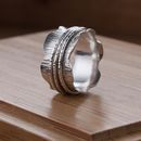 Waved Silver Birch Spinner Ring