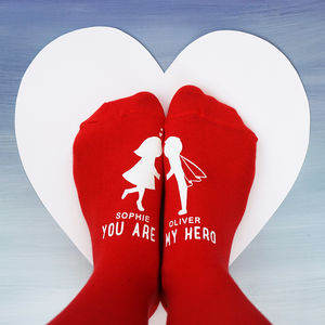 Personalised You Are My Hero Socks - love tokens