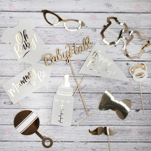 Baby Shower Gold Foil Photo Booth Props - photobooth props & backdrops