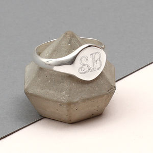 Mens Sterling Silver Monogram Oval Signet Ring