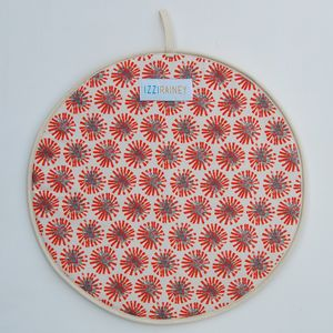 Pair Of Red Dandelion Hob Covers - kitchen