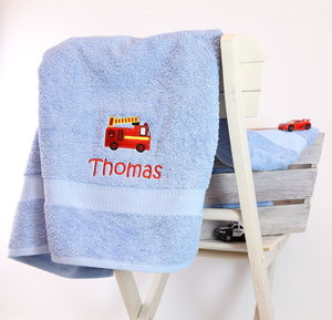 Kids Personalised Fire Engine Bath Towel - bed, bath & table linen