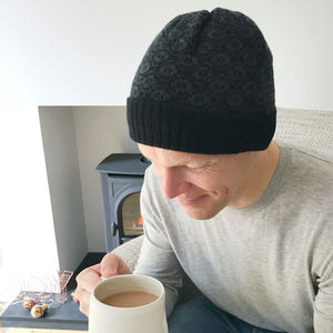 Mens Knitted Lambswool Beanie Hat - hats