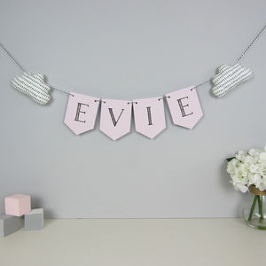 Personalised Name Bunting With Fabric Clouds - children's room